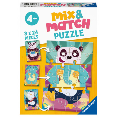 2x24 pcs Mix & Match Puzzle Funny Animals