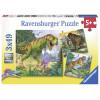 3x49 pcs Puzzle Dinosaurs