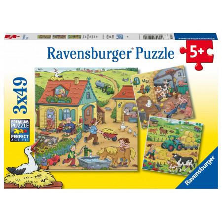 3x49 pcs Puzzle At the Farm